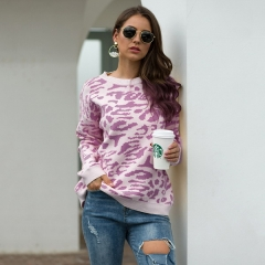 Autumn and winter new women's explosions sweater camouflage leopard pullover sweater