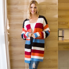 Explosive Knit Cardigan Women's Long Color Contrast Rainbow Stripe Cardigan Sweater