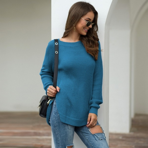 Autumn and winter European and American style explosion hem high slit round neck long sleeve pullover sweater sweater
