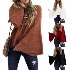 Autumn and winter new women's European and American sweaters trumpet sleeves loose hooded bat sweater