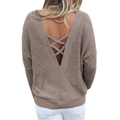 New product explosion loose large size V-neck sweater solid color strapless halter sweater