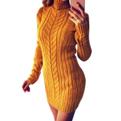 Autumn and winter explosions sweater long-sleeved high-neck twist Slim sweater dress