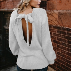 Autumn and winter new European and American sweater female explosion models sexy bow tie halter sweater