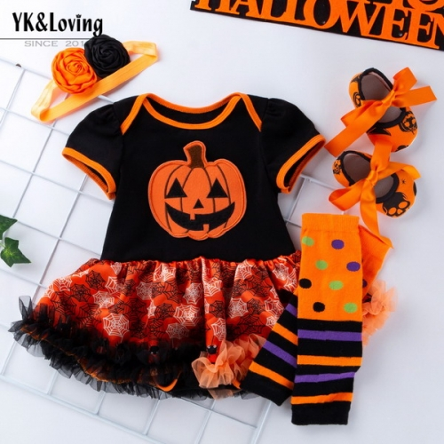 Halloween new 0-2 baby cartoon short-sleeved dress skirt baby mesh dress four-piece suit