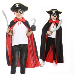Halloween COS Jack Children's Costume Performance Role Playing Black Red Double Layer Pirate Cape Hat Set