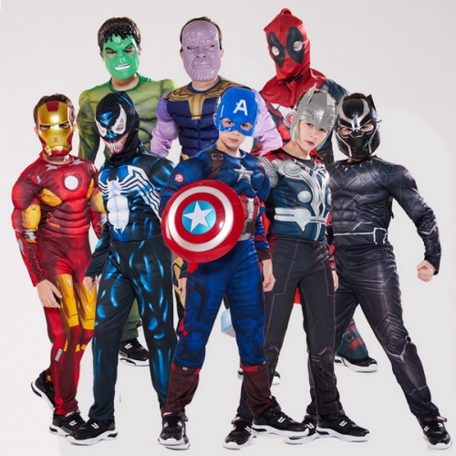 Halloween costume Child dead venom US captain Superman Spider-Man Iron Man Panther COS Muscle
