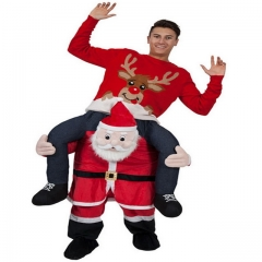 Santa Claus back riding a pedestrian doll riding an animal back humanoid fake leg pants
