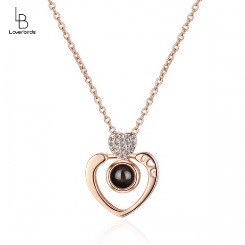 Love peach heart couple necklace female memory love 100 languages projection short clavicle chain