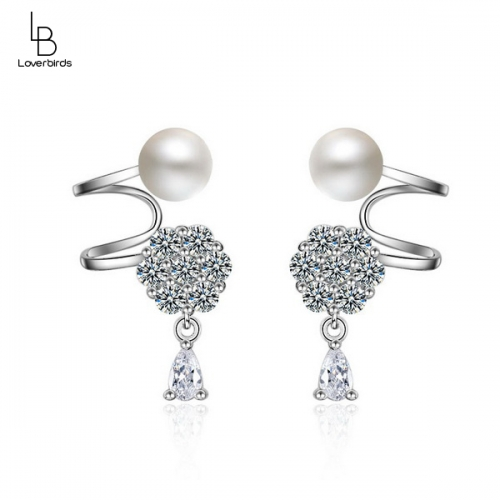 Korean ear jewelry pearl snowflake ear clip female earrings ear jewelry