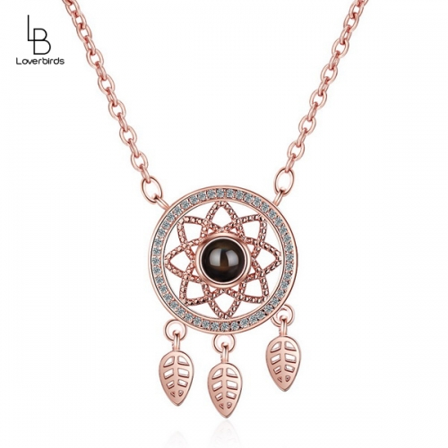 Projection love necklace female 100 languages I love you memory dream catcher clavicle chain