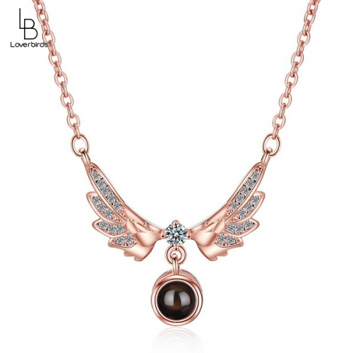 Angel Wings Projection Necklace Female Clavicle Chain 100 Kinds I Love You Pendant Net Red Trendy Short Clavicle Chain