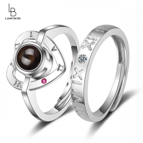 Love memory ring female 100 languages I love you love projection couple adjustable love ring