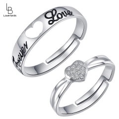 Heart-shaped couple ring fashion temperament with diamonds