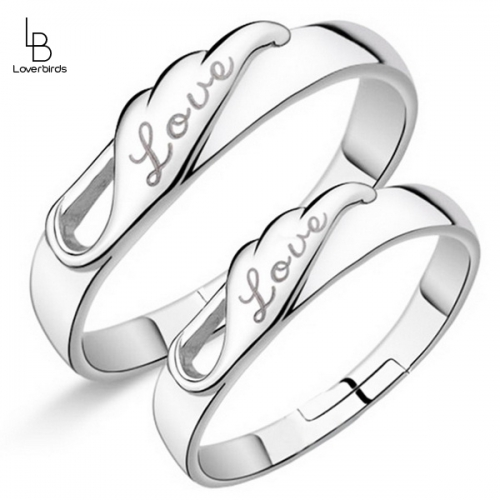 Pair of Rings Love Wings Couple Opening Men and Women Pair Rings Korean Jewelry Couple Rings