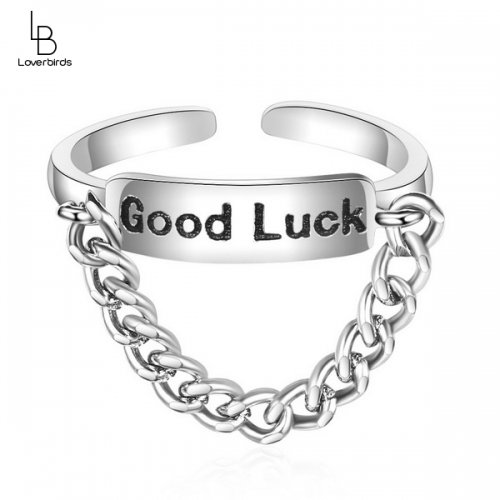 Chain ring female index finger personality retro opening goodluck ring