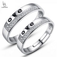 Wild couple opening ring with diamond adjustable opening for men and women