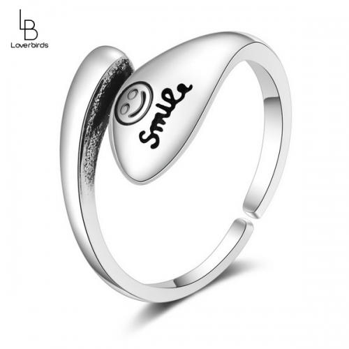 Fashion retro style letter ring temperament smile literary smiley ring