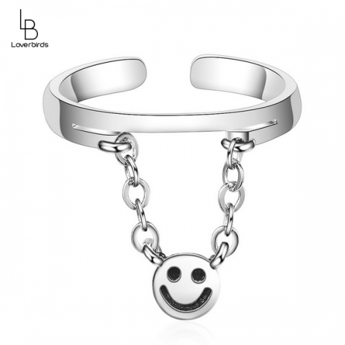 Chain smiley smile ring female tide net red simple ins cold wind Korean simple personality retro ring