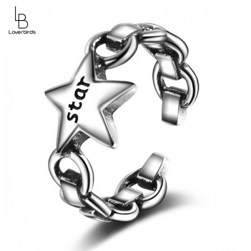 Old Korean retro fashion personality trend punk style five-pointed star open ring