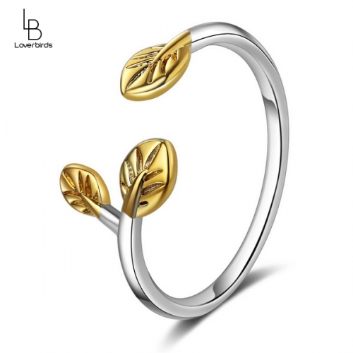 Ring female Japanese and Korean style simple branch golden leaf open ring literary single ring