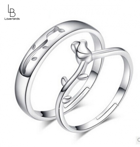 Fashion flower couple ring love flower ring