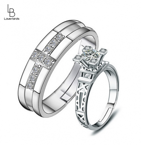 Eiffel Tower diamond-set couple ring with adjustable opening ring for men and women
