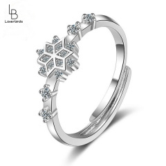 Snowflake ring personality simple ancient style other shore flower index finger ring influx of women ins retro models diamond single ring