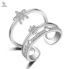 New three-layer star opening ring female diamond adjustable size multi-layer ring