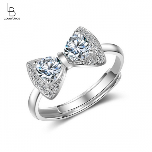 Women's fashion bow ring with wild temperament and diamond opening ring