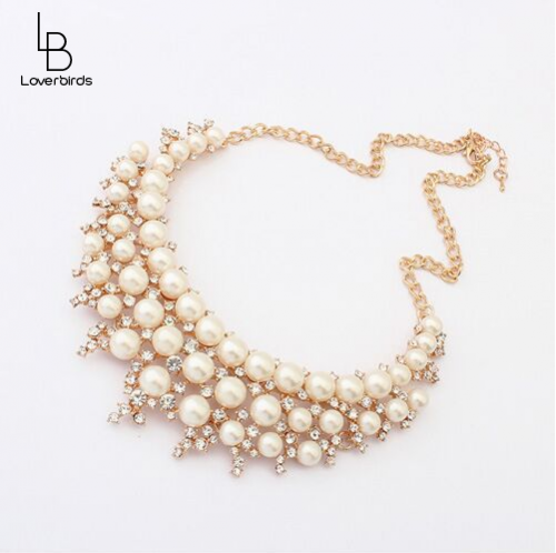 Korean custom pearl temperament short necklace female jewelry clavicle chain European and American big names