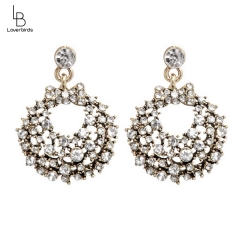 Jewelry rhinestone round hollow metal earrings earrings alloy jewelry