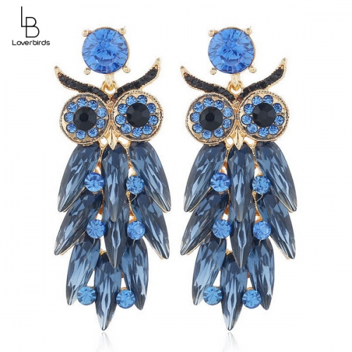 European and American fashion metal bright owl exaggerated temperament earrings