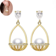 Exquisite Korean fashion elegant gondola pearl personality temperament earrings