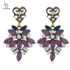 European and American fashion metal brilliant gems exaggerated temperament earrings