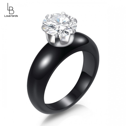 Ceramic ring black and white diamond ring love ring explosion accessories