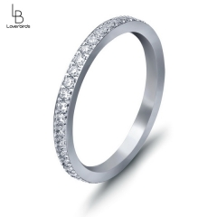 Fashionable personality simple classic style full circle inlaid zircon ladies titanium steel ring ring
