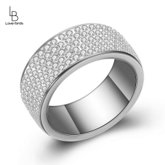 5 rows of diamond stainless steel ring female titanium steel point diamond ring bride with diamond wedding ring diamond ring