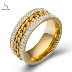 Fashion New Jewelry Personality Two-row Diamond Gold Plating Middle Chain Ring Refers to Eco-friendly Jewelry