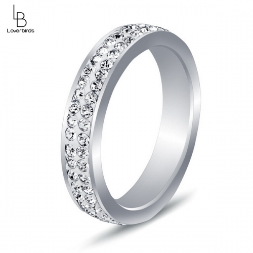 European and American style new simple design two rows of diamond titanium steel gray ring stainless steel ring