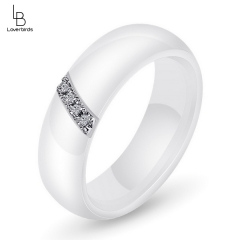 Simple Nano Ceramic Ring Trend Titanium Steel Inlay Zircon Ring Holiday Gift