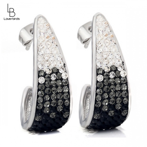 European and American style jewelry, black and white full diamond stud earrings, simple and fashionable earrings