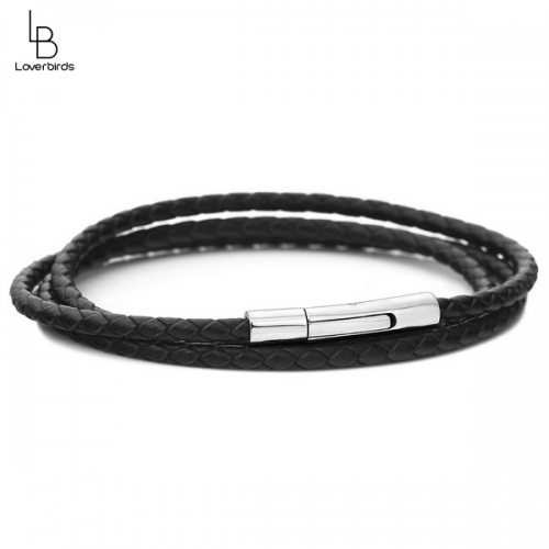 Leather rope DIY bead bracelet Women's stainless steel snap leather bracelet