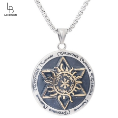European and American ornaments Solomon seal six-pointed star totem round gold pendant stainless steel men's pendant