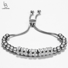 American diamond jewelry light luxury simple crystal bracelet ladies adjustable length titanium steel bracelet