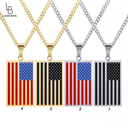 American Flag Pendant Military Tag Men's Tag Personalized Necklace