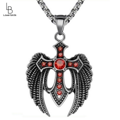 European and American version of the new men's domineering Dapeng wings red zircon necklace pendant personalized titanium steel jewelry