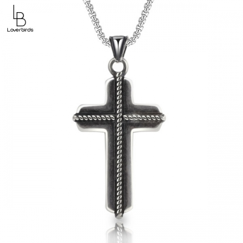 Stainless steel casting jewelry cross pendant retro oiled diagonal stripes men's cross titanium steel necklace
