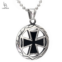 European and American new popular titanium steel cross shield pendant necklace accessories retro punk jewelry with pearl chain