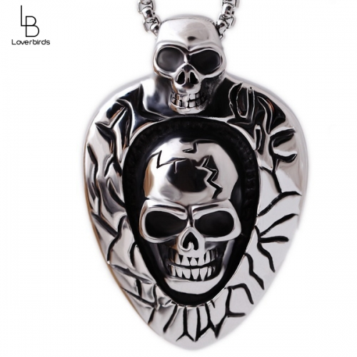 European and American foreign trade personality retro punk rock gothic wave eyes titanium skull necklace
