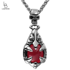 Retro Skull Buckle Red Pomegranate Gemstone Fashion Trendy Necklace Pendant Clothing Accessories Titanium Steel Jewelry